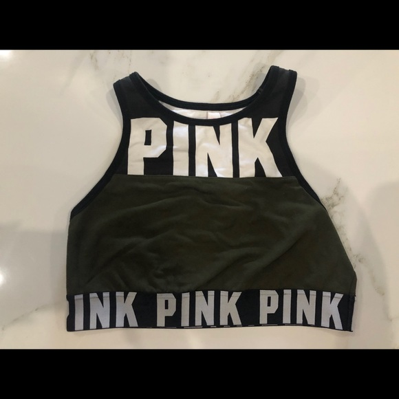 PINK Green Higher Coverage Sports Bra Size: S